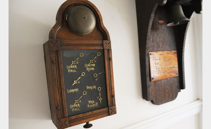 An original clock from early 1800s still hangs in the Cranaleith Spiritual Center today. MARIA YOUNG / TIMES PHOTO